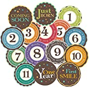 Huge sale! Stick'Nsnap(TM) 15  Happy Colors  milestones monthly growth stickers for baby boy or girl. 3.25'' inch diameter sticker. To put on shirt bodysuit creeper bibs bottoms or ONESIE. Use every month to take pictures and add to scrapbook as keepsake. Use as baby shower gift or baby room décor. Bright bold colors. - Best Shower Gift!