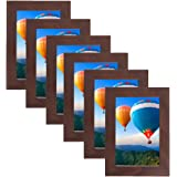 MDF Wood Picture Frames 4x6 Display with PVC Lens, Easel Back, Hanging Clip | 6 PIECE SET (Brown, 4x6)