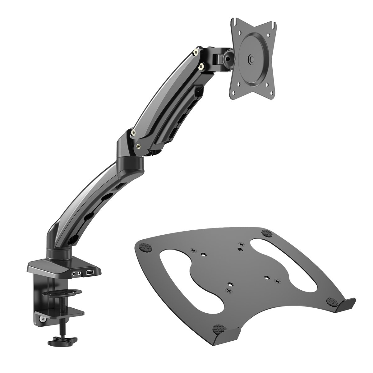 "Gibbon Mounts Monitor Desk Mount with Full Motion Gas Spring Riser VESA 75X75 and 100X100 or Free Removable Strong Steel Tray for Laptop 13"" to 17"""