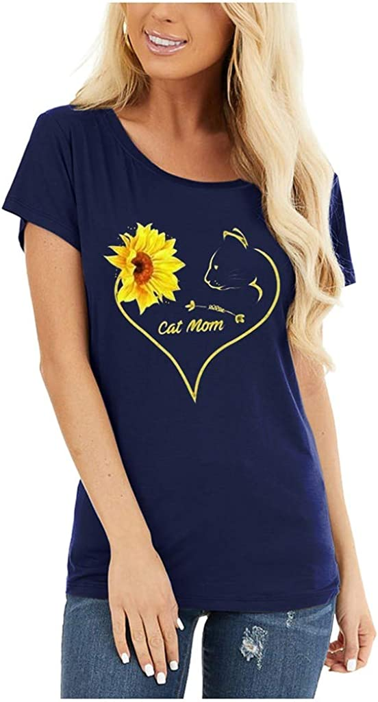 Cute Sunflower Shirts for Women Mlide Casual Beach Tee Shirts Letter Print Funny Tops Tee