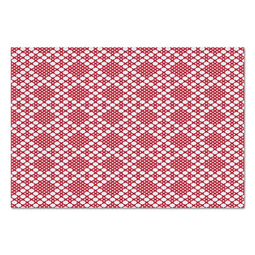 Large Wall Mural Sticker [ Ethnic,Traditional Russian Slavic Cross Stitch Pattern Embroidery Ornate Needlework Design,Pink White ] Self-adhesive Vinyl Wallpaper / Removable Modern Decorating Wall (Funky Embroidery Designs)