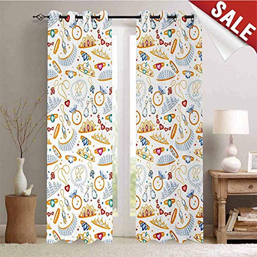 Pearls Decor Curtains by Pattern with Accessories Diamond Rings and Earring Figures Image Digital Print Room Darkening Wide Curtains W84 x L96 Inch White Yellow