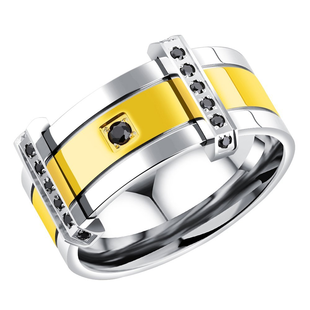 Onefeart Stainless Steel Ring For Men Boy Round Cubic Zirconia Gentleman Arrogance Design Gold US Size 9