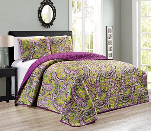 Paisley Grand - 3-Piece KING / CAL KING Printed Paisley / Solid Purple Green Reversible Bedspread Embossed Coverlet set Bed Cover