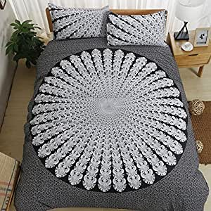 Bohemian mandala flower White black Home Comforter Bedding Sets Duvet Cover Sets Bedspread ,Flat Sheet, Shams Set 4Pieces,(King)for Adult Kids Teenage Teens