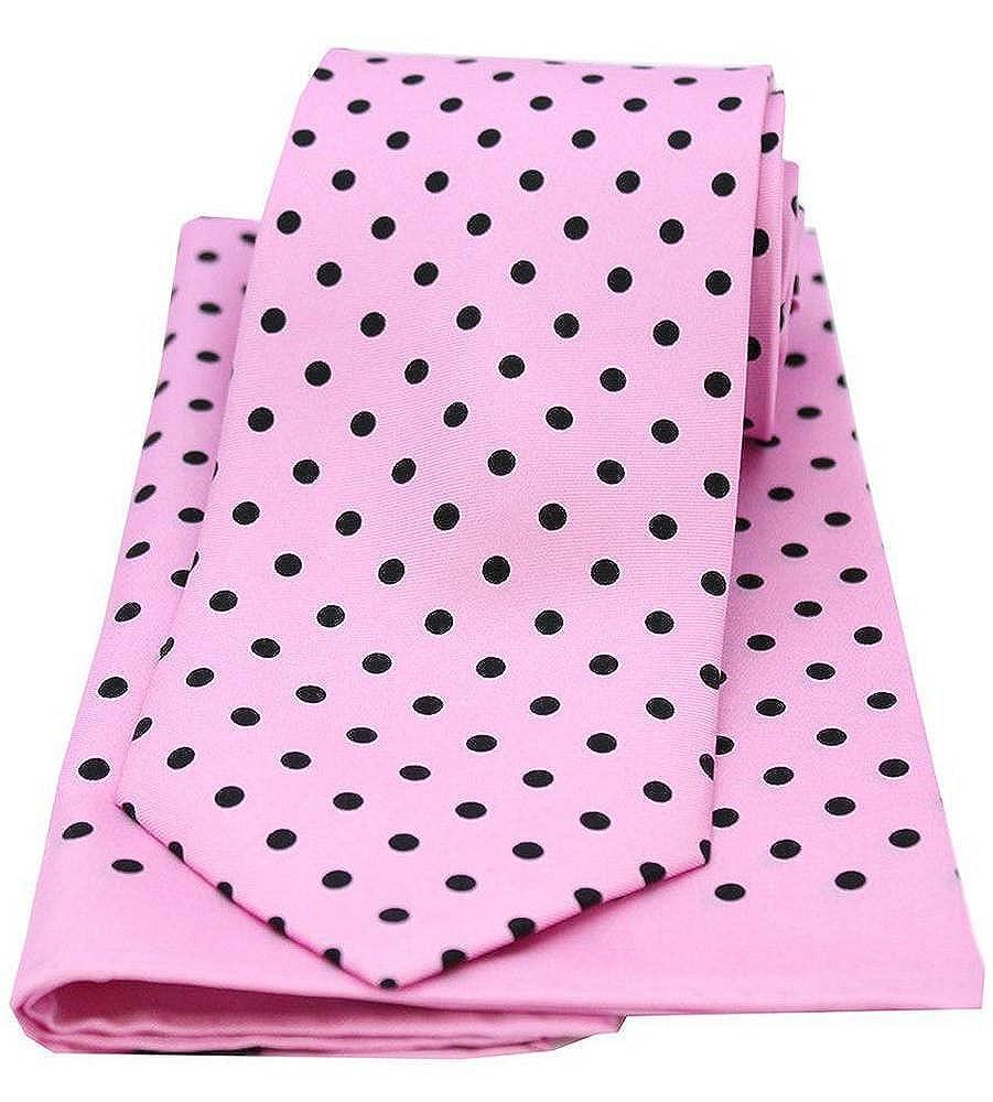 David Van Hagen Mens Polka Dot Matching Tie and Pocket Square Set Pink//Black