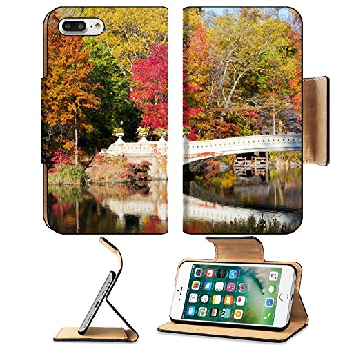 Luxlady Premium Apple iPhone 7 Plus Flip Pu Leather Wallet Case iPhone7 Plus 34231255 Central Park Bow Bridge in Fall New York - Horses Park Central