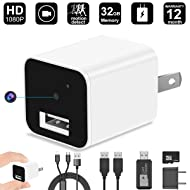 Hidden Camera, 32GB 1080P HD Spy Camera Charger with Motion Detection Loop Video Record for Home Office Security Surveillance(Include 32GB TF Card)