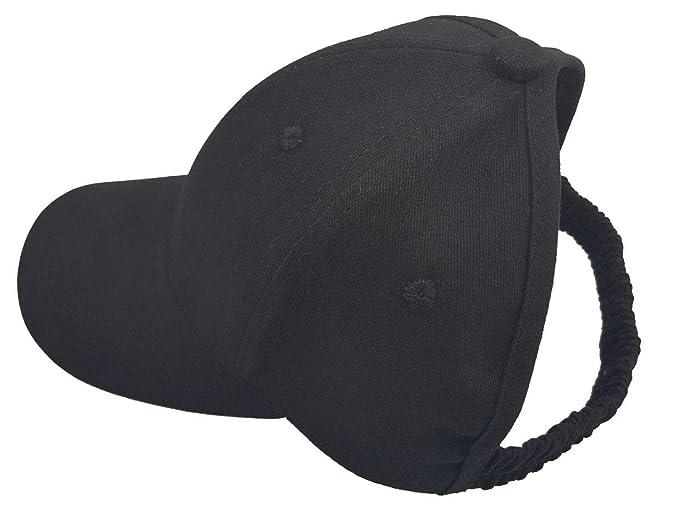 UTALY Women Backless Ponytail Hats Cotton Distressed Baseball-Cap Black 9053995e15c