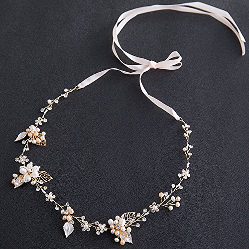 Rhinestone Crystal Wedding Bridal Floral Leave Headband Hair Vine Tiara with Ribbon Belt (Gold)