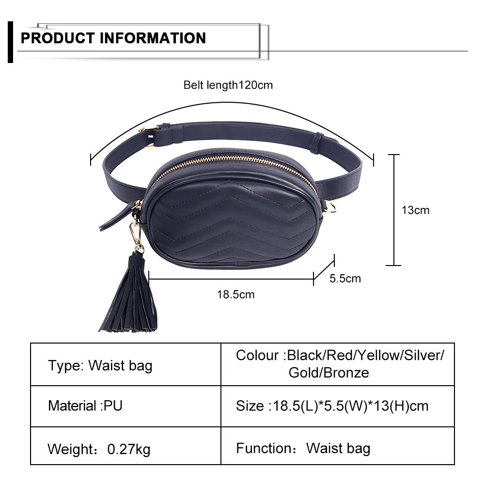 Kukoo Women Leather Waist Belt Bag Elegant Fanny pack Cell Phone Money Pouch by Kukoo (Image #3)