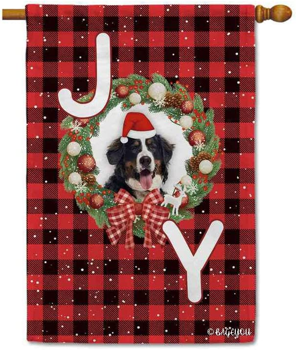 Merry Christmas with My Love Dog Cute Bernese Mountain Dog Red Buffalo Check Plaid House Flag Winter Holiday With Joy Snow Holly Wreath Decor Yard Banner for Outside 28x40 Inch Print Double Sided