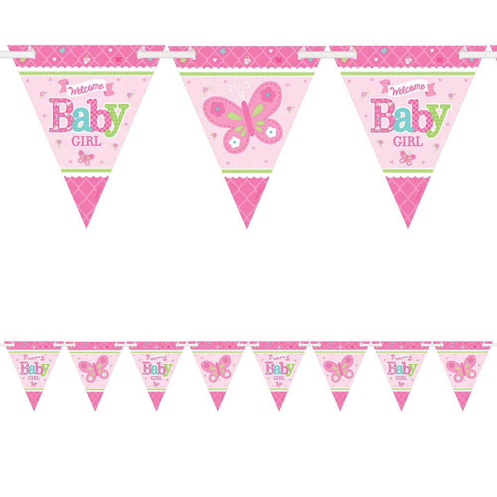 14b6ecd5ae8a 4.5m Little Pink WELCOME Baby Girl Shower Party Pennant Flag Banner ...