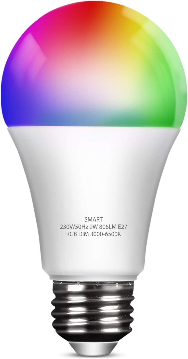 Bombilla LED Inteligente Wifi, Bombillas WiFi E27 Regulable Multicolor 9W 806 Lúmen, Lámpara Luces RGB 3000K-6500K, Compatible con Alexa y Google Home, 1 Unidad