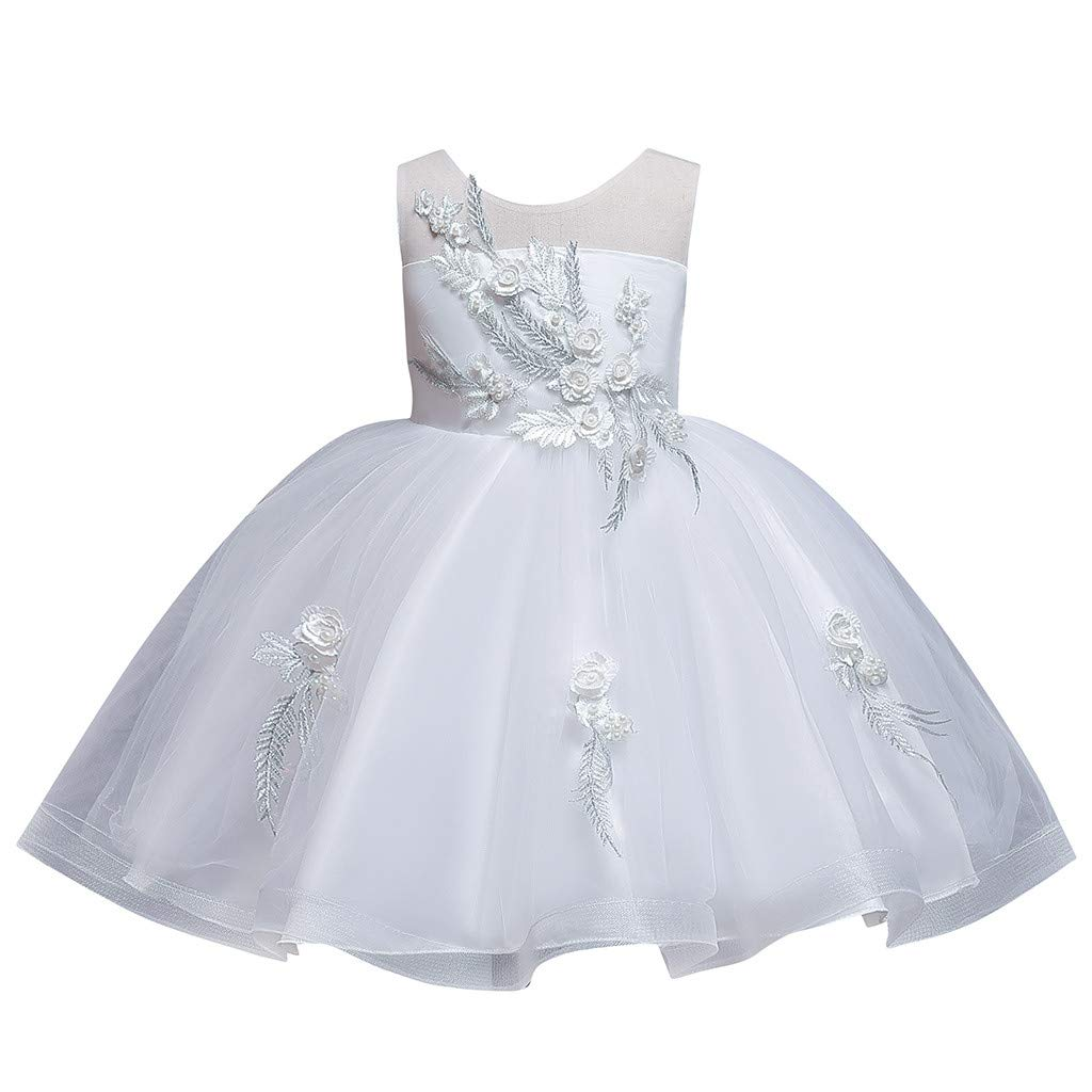 Sameno Girls Embroidery Flower Princess Dress 4-10t Overlay Lace Tulle Puffy Tutu Bridesmaid Pageant Party Wedding Gown White by SamXmasBaby