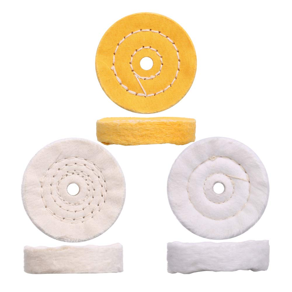 3 Inch ultra fine cotton 1 Treated Yellow Cotton 1 Fine Cotton 1 Buffing Polishing Wheel 2//5 inch Arbor Hole for Mini Bench Grinder with one 1//4 Shank for Drill