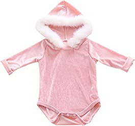 5515a7e46f4 Imcute Newborn Baby Girls Outfit Costume Long Sleeve Velvet Fur Hoodies Top  Romper for Christmas