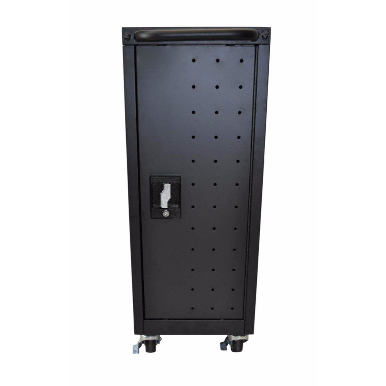 """Luxor LLTM16-B-V2 16 Tablet Computer Charging Cart - 12""""W x 20.25""""D x 34""""H"""