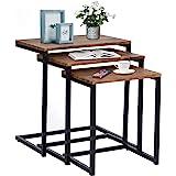 FurnitureR Mesas de anidación industriales Juego de Mesa de café para Sala de Estar de 3 mesas Laterales apilables Mesitas de