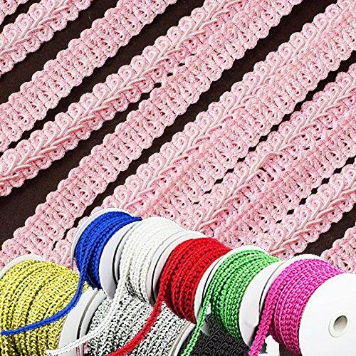 (Adorox (25 Yards 3/8 inch 1 Roll) Braided Gimp Trim Ribbon Party Event Wedding Birthday Decoration (Pink))