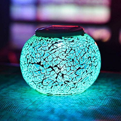 Color Changing Solar Powered Glass Ball Garden Lights, Aukora Solar Table Lights Waterproof Solar Led Night Light for Patio Garden Wedding Outdoor Decoration, Ideal Gift(Crack Glass) (Outdoor Patio Zen)