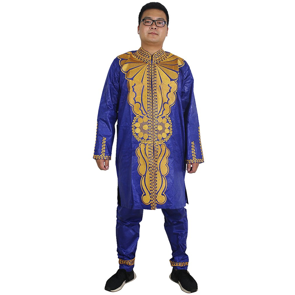 HD Dashiki Men African Attire Bazin Rich Outfit Embroidery Top Shirt and Pants Set,Blue 3XL