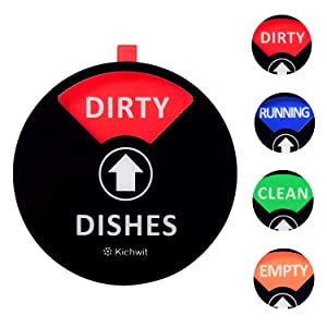 Kichwit Dishwasher Magnet Clean Dirty Sign Indicator with Running and Empty Options, Works on All Dishwashers, Non-Scratch Strong Magnetic Backing, Residue Free Adhesive Included, 4 Inch, Black