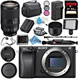 Sony Alpha a6300 Mirrorless Digital Camera (Black) ILCE6300/B + Sony FE 70-300mm f/4.5-5.6 G OSS Lens SEL70300G + NP-FW50 Replacement Lithium Ion Battery + External Rapid Charger Bundle