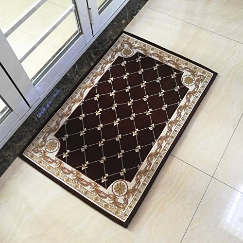 Cheap  Hihome Anti-Slip/Skid Rubber Back Door Mat Runner Rug 2'x3' Brown Traditional Classic..