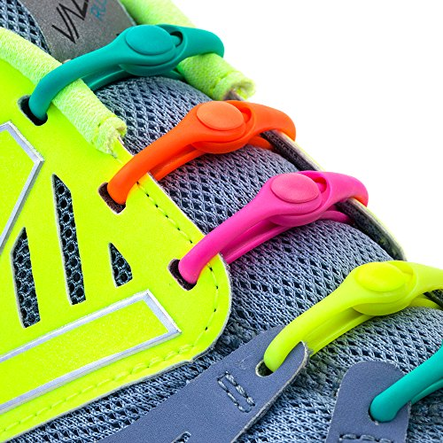 HICKIES 1.0 Elastic One Size Fits All No Tie Shoelaces - Neon Rainbow Multicolor (14 HICKIES Laces, Works in all shoes)
