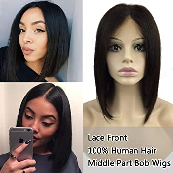 Short Bob Wig Lace Front Human Hair Wigs Straight 4*4 Lace Frontal Wig Brazilian Hair 10 Inch Non Remy Middle Part Hair Comfortable And Easy To Wear Hair Extensions & Wigs