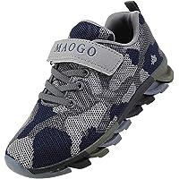 MAOGO Zapatos niños Niñas Deportivo Transpirable Malla con Parte Superior de Cuero cómoda Suave Cordones Zapatillas…