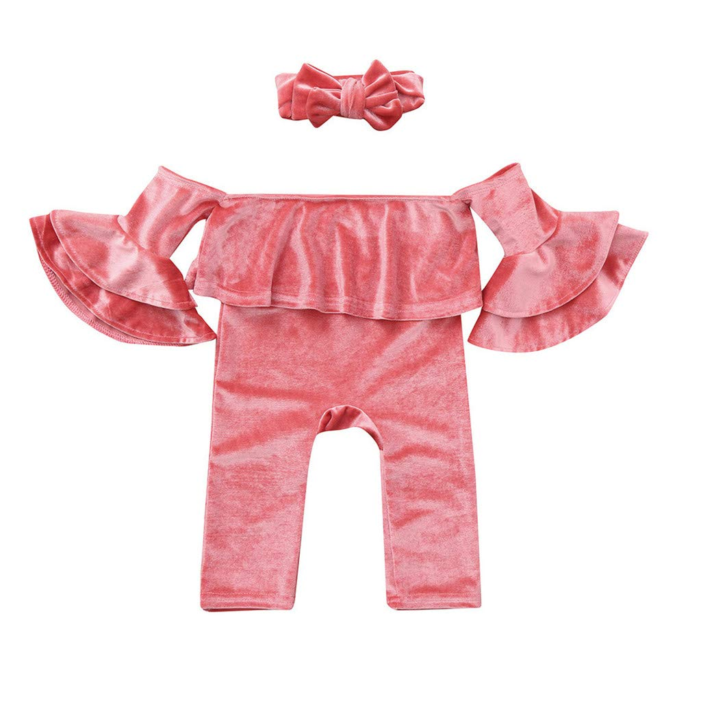 Suma-ma 0-4 Years Baby Girls Off Shoulder Solid Corduroy Jumpsuit Romper Headband Flare Sleeve Outfits