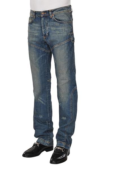 Versace Pantalón Hombre 40 Azul Marrón Algodón Normal Corte Regular