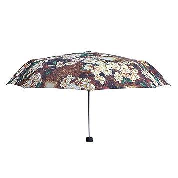 WJCGX Flores Y Pájaros Paraguas Trípticos Moda Al Aire Libre Protector Solar Paraguas De Vinilo Paraguas