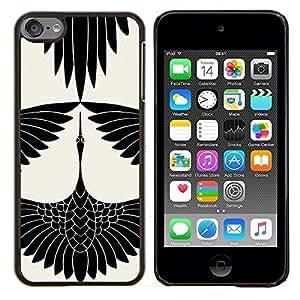 TECHCASE---Cubierta de la caja de protección para la piel dura ** Apple iPod Touch 6 6th Touch6 ** --Cigüeña Arte Dibujo tinta blanca