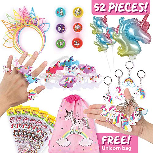 Unicorn Party Favors for Kids, Best Gifts, Party Suppliers, Decorations for Theme Birthday Parties, Fun Goodie Bag Fillers for Girls w/Unicorn Bag, Headbands, Bracelets, DIY Sticker, Keychains, more]()