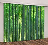 LB Teen Kids Living Room Bedroom 3D Window Curtains,Green Bamboo Forest Design Thermal Insulated Blackout Window Drapes 2 Panels Set,118W x 108L Inches