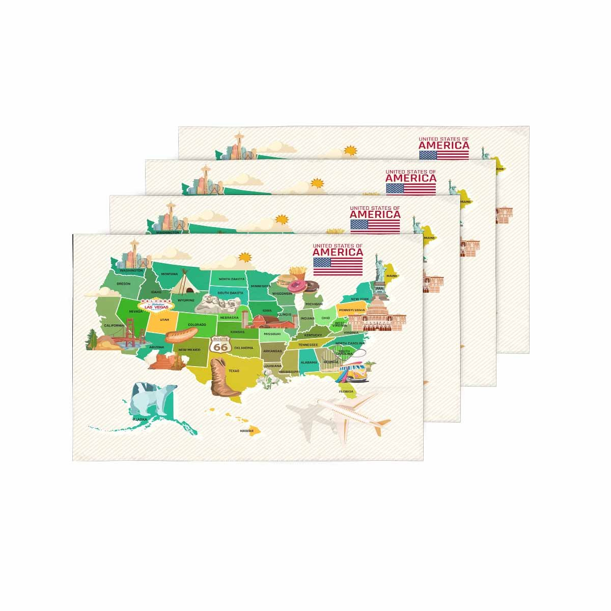 InterestPrint Welcome To USA United States of America Map Placemat Table Mats Set of 4, Travel Theme USA Map Heat Resistant Place Mat for Dining Table Restaurant Home Kitchen Decor 12''x18''