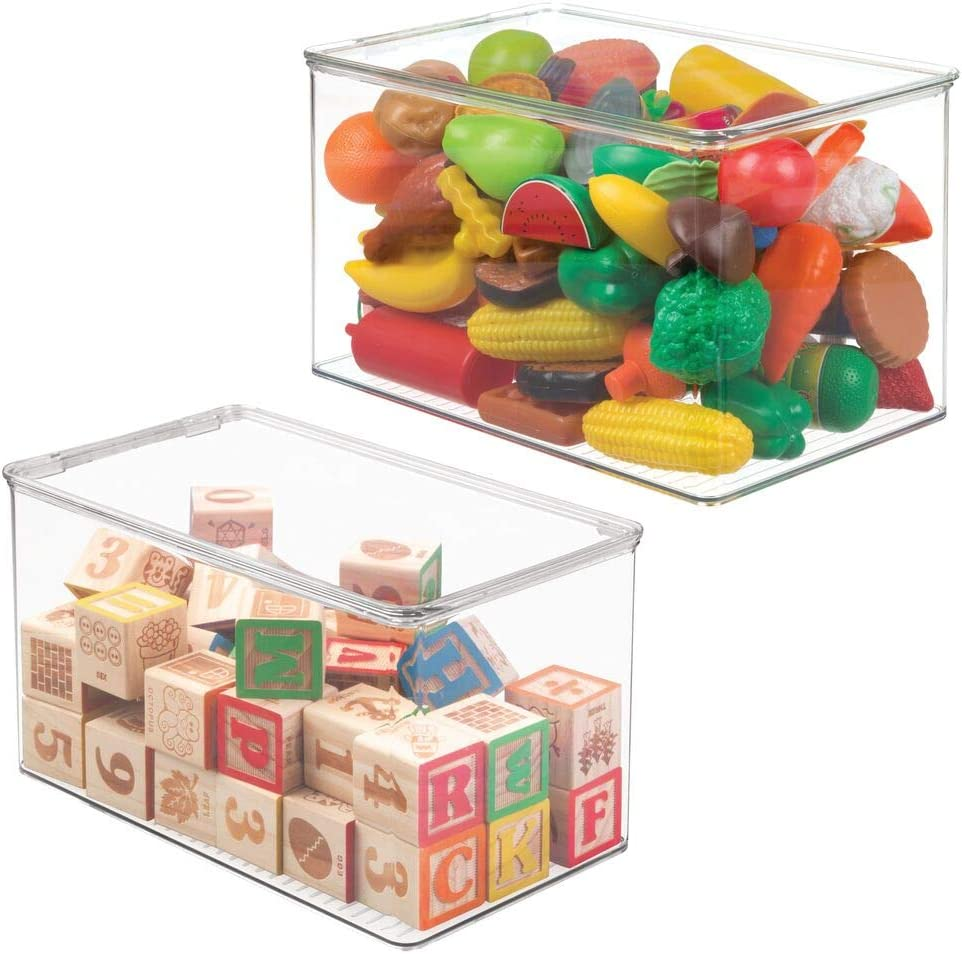 mDesign Stackable Closet Plastic Storage Box with Lid - Container for Organizing Child's/Kids Toys, Action Figures, Crayons, Markers, Building Blocks, Puzzles, Crafts - 7
