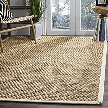 Safavieh Natural Fiber Collection NF114J Basketweave Natural And Ivory  Seagrass Square Area Rug (6u0027