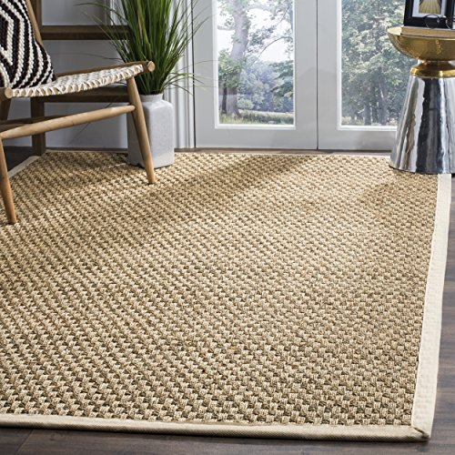 Safavieh Natural Fiber Collection NF114J Basketweave Natural and Ivory  Seagrass Area Rug (3' x 5')