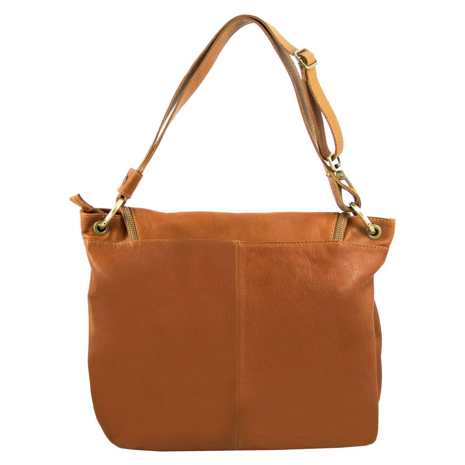 2d537d0a2229 Amazon.com  Tuscany Leather TLBag Soft leather shoulder bag with tassel  detail Cognac  Tuscany Leather Official Store