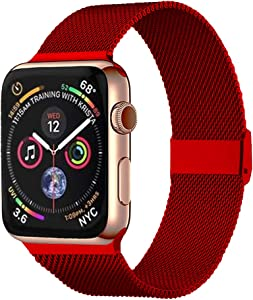 Pigetfy Compatible for Apple Watch Band 40mm 44mm Series 6, Series 5,Series 4,Series 3,Series 2,Series 1,Series SE and Wristband for Iwatch 38mm 42mm (Red, 38mm/40mm)