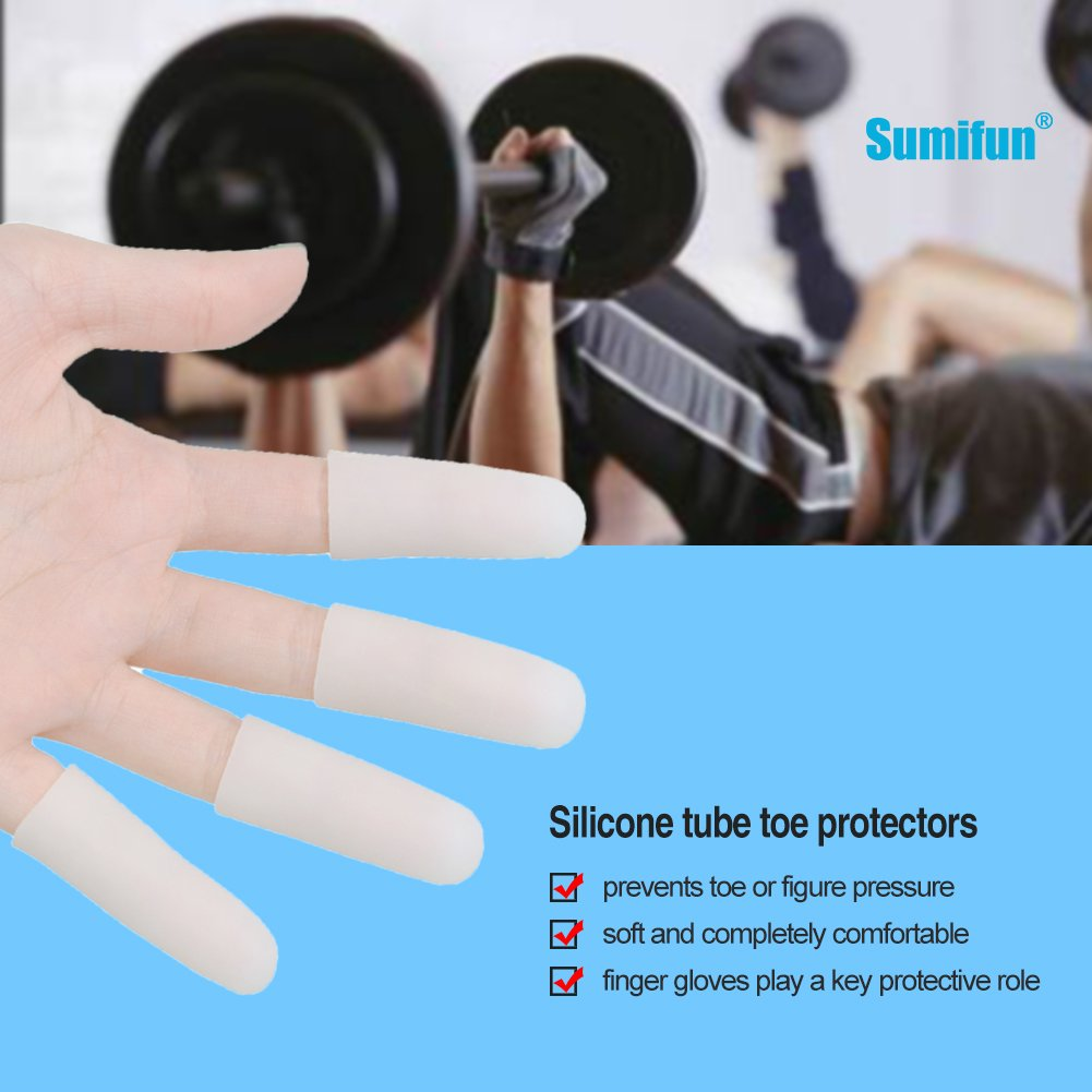 Sumifun Silicone Thumb Sleeves- Gel Finger Protector Support for Arthritis Basketball Mallet Finger Trigger (1 Pairs Short+ 4 Pairs Long, Nude) by Sumifun (Image #5)