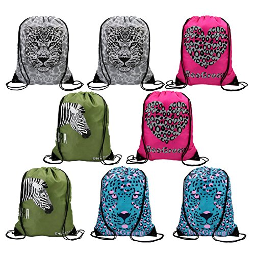 Jungle Safari Animals Party Supplies Favors Bags for Kids Boys Girls, 8 Pack Zoo Theme Party Drawstring Backpacks for School and (Safari Stitch)