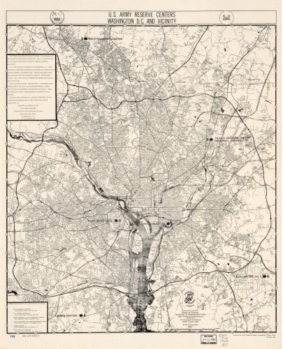 1964 Map U.S. Army Reserve centers, Washington D.C. and vicinity - Size: 20x24 - Ready to Frame - - Outlet Washington Dc Shopping