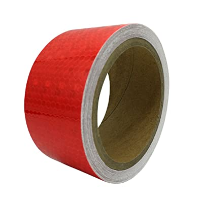 "PerfecTech 2""x 118"" Reflective Pure Color Aveolate Honeycomb Prismatic Pattern Conspicuity Hazard Safety Warning Caution Tape Film (Red): Automotive"