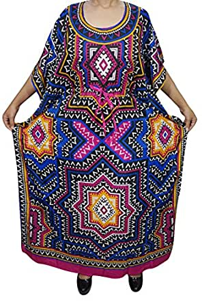 Bohemian Chic Designs Womens Kimono Kaftan Printed Maxi Dress Beach Cover Up Evening Caftan Dresses XXXL