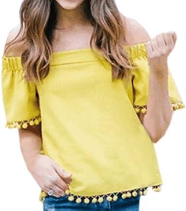 Mujeres Camisetas Moda Cuello Barco Manga Corta Tees Camisa ...